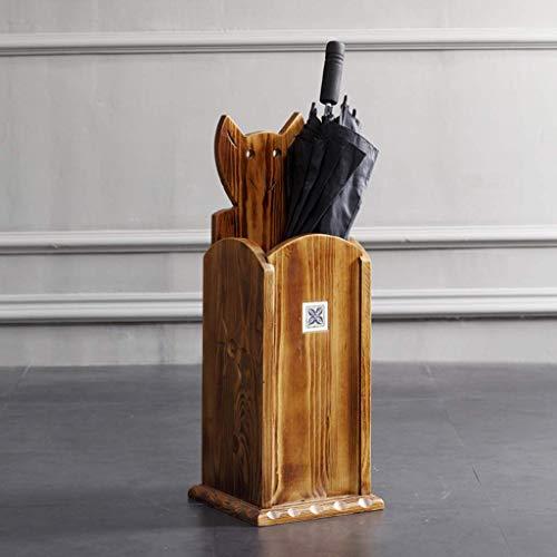CHUTD Portaombrelli in Legno in Stile Art Déco Classico, Porta bastoni da Passeggio per corridoio d'ingresso, Marrone, 23x23x64cm