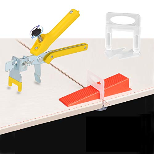 Tile Leveling System Kits Tile 600pcs 1/8 Inch Leveling Spacers Clips and 200pcs Reusable Wedges with 1pc Tile Plier for Tile Stone