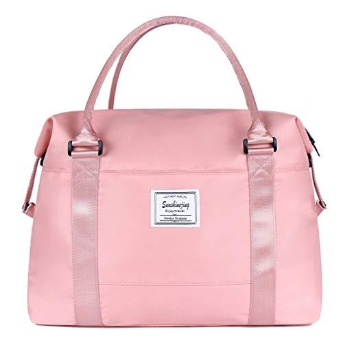 Unisex Large Travel Shoulder Weekender Overnight Bag Handbag Gym Tote Bag with Trolley Sleeve (Pink)