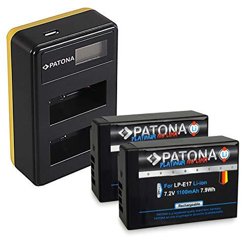 PATONA Caricatore doppio LCD USB con 2x LP-E17 Batteria Platinum - completamente decodificato - compatibile con Canon EOS M6 8000D Rebel T6i