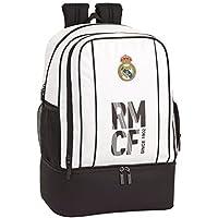 Real Madrid CF Bolsa de Deporte, Mochila con zapatillero Equipaje para niños, Blanco, 50 cm