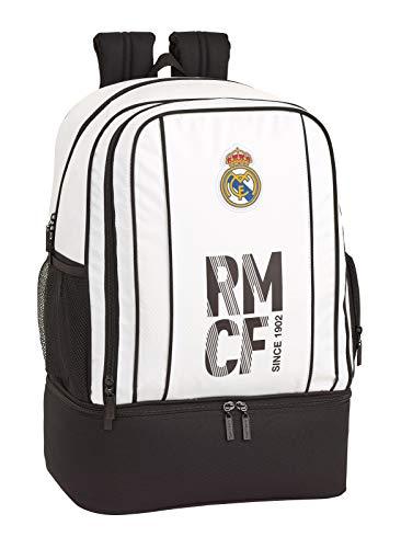 Real Madrid CF Bolsa de Deporte  Mochila con zapatillero Equipaje para niños  Blanco