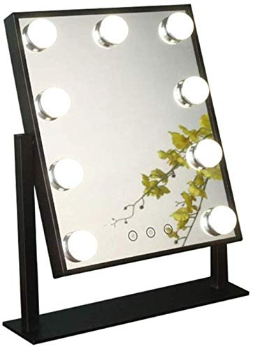 ZfgG Make-upspiegel met ledverlichting voor de kaptafel in de kleedkamer, Hollywood-stijl, make-upspiegel, ledlampen met 9/12 dimbare gloeilampen, zwart