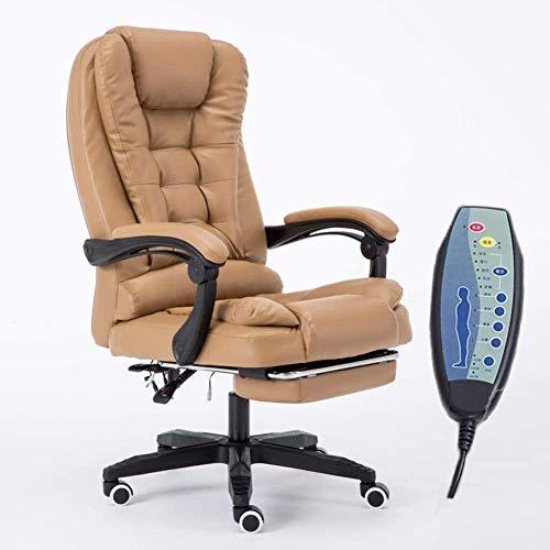 Cenicero PU respaldo alto reclinable silla giratoria de oficina con reposapiés retráctil, cómoda silla for juegos reclinable con masaje en los puntos 7, imitación de cuero giratoria Silla de escritori