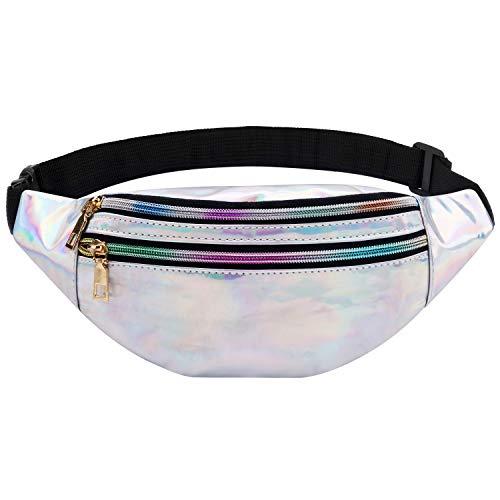Fansport Damen Bauchtasche Gürteltasche Hüfttaschen PU-Leder Hüfttasche Sport Wasserdicht DREI Fächer mit Reißverschluss Verstellbarer Gurt Bauchtasche für Frauen Fashion Taschen