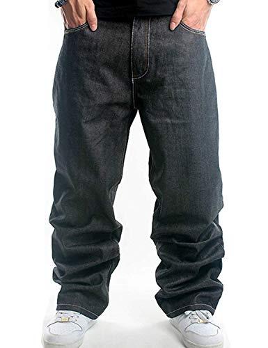 Pantaloni da Uomo Pantaloni di Jeans Moda Classica Casual Moderna Pantaloni Larghi di Jeans Pantaloni da Discoteca Casual Stile Hip Hop Vintage (Color : Colour, Size : L)