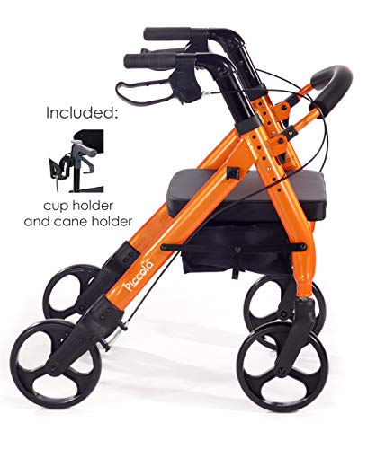 Comodità Piccola (Petite) Heavy Duty Rollator Walker with Comfortable 15' Wide Seat (Metallic Orange)