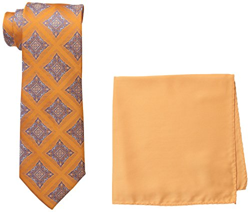 Steve Harvey Men's Tall Size Extra Medallion Necktie and Solid Pocket Square, Peach, Large Long