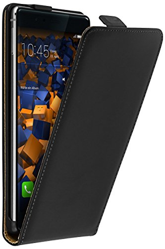 mumbi Tasche Flip Case kompatibel mit Huawei P9 Plus Hülle Handytasche Case Wallet, schwarz