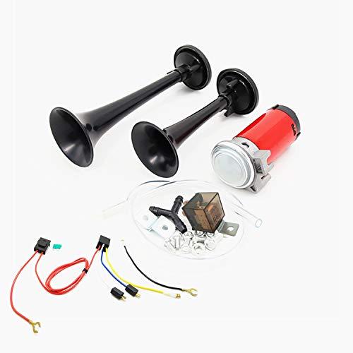 YIYIDA Bocina de coche air horn trompa135db bocina de aire trompeta de doble tono contiene tonos agudos bajo y un kit de bomba de aire de compresor para cualquier camión de 12V coche SUV barco etc