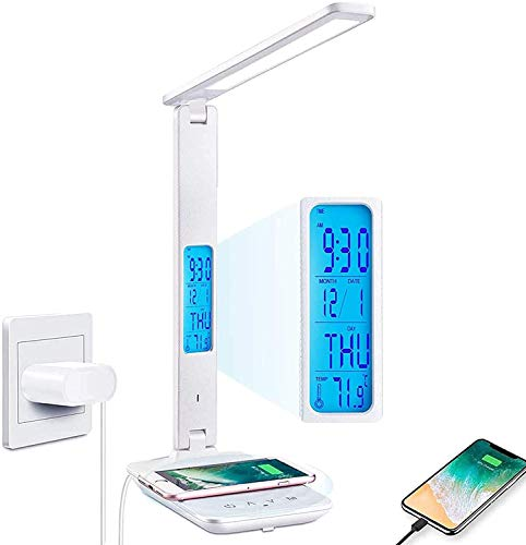 Desk Lamp, LED Desk Lamp with Wireless Charger, USB Charging Port, Adjustable, Foldable Table Lamp with Clock, Alarm, Date, Temperature, 5 Levels of Dimmable Lighting, Office Lamp with Adapter