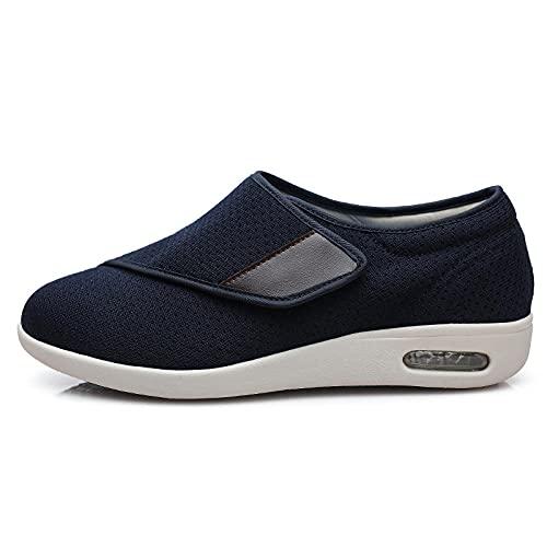 CCSSWW Calzado Interior Antideslizante para DiabéTicos,Zapatillas Transpirables para Caminar-Azul_38,Zapatillas DiabéTicas Ajustables