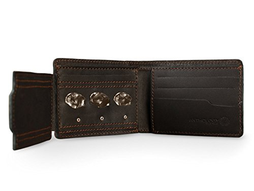 Anthology Gear Full Grain Leather Bi-fold Wallet with Guitar Pick Holder (Whiskey Brown)