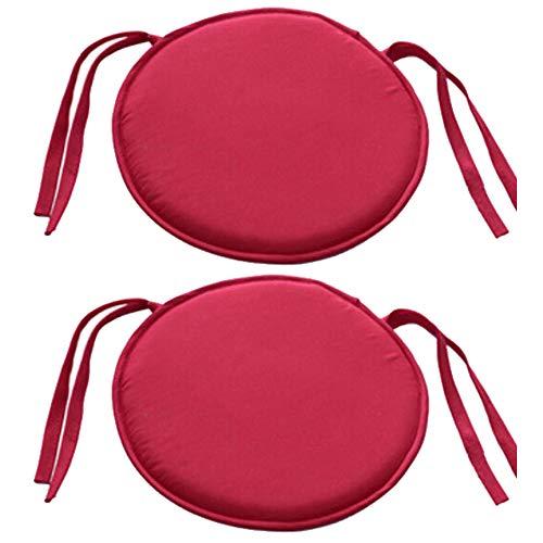 Bechases - Cuscino rotondo per sedia, con lacci, per casa, ufficio, giardino, patio, bar, confezione da 2 Rosso