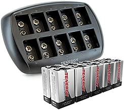 Tenergy 9V Batteries 600mAh 10PCS Li-ion 9 Volt Rechargeable Batteries with 10-Slot Li-ion 9V Battery Charger for Smoke Alarm/Detector