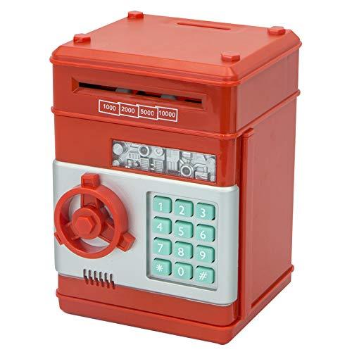 N\P Juguete De La Máquina De Depósito para Niños, Hucha, Hucha Electrónica, Rollo De Dinero Automático para Niños, Niñas, Regalo De Cumpleaños. 12.3×13.5×19.5cm/Rojo