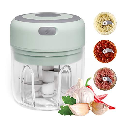 huasida Mini picadora eléctrica picadora Multiusos Apta para cebollas, ajo, Verduras, Frutos Secos, Comida para bebés(250 ml, Verde)