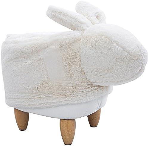 WJZ-Bestehome Schuhbank Creative Cartoon Bunny Massivholz Kinderhocker Soft Sponge Plüsch Fu ütze Schlafzimmer Arbeitszimmer Kinderzimmer Kindergarten Spiel Hocker, 62  19  37cm (Farbe   Weiß