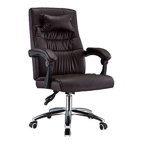 Executive Office Chair, Ergonomic Conference Work Chair Padded Recline Computer PC Swivel Desk Chair with Adjustable Task Gas lift, Pu leather (Brown)