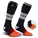 Heated Socks for Men Women, Electric Rechargeable Battery Heating Socks for Winter Sports Arthritis Raynaud Winter Snow Ski Hunting Camping Hiking Riding Warm (Black/Grey 1, L)