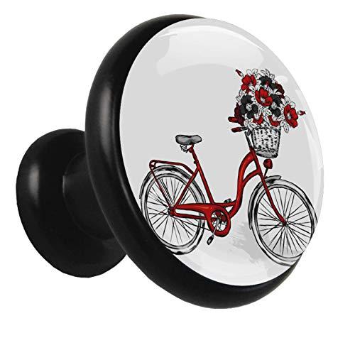 Pomo para muebles infantiles Flores Bicicleta Roja Pequeño mango exquisito para...