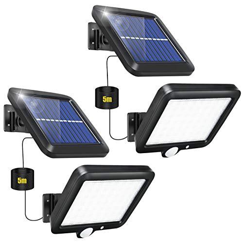 【2 Paquete】Luz Solar Exterior, Foco Solar Exterior, 56 LED Luz Solar Exterior...