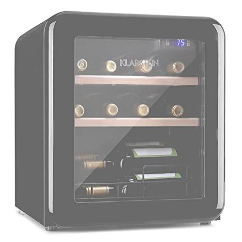 Klarstein Vinetage Uno - Nevera para vinos, Temperaturas de 4 a 22 °C, Refrigeración por compresión, Iluminación LED, 2 estantes de madera, Panel de control, Capacidad 46 L, Hasta 12 botellas, Gris