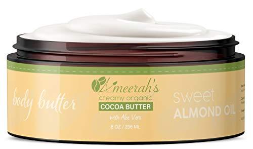 8 oz Organic Cocoa Body Butter & Sweet Almond Oil with Aloe Vera & Vitamin E | Body Moisturizer Cream - Unscented