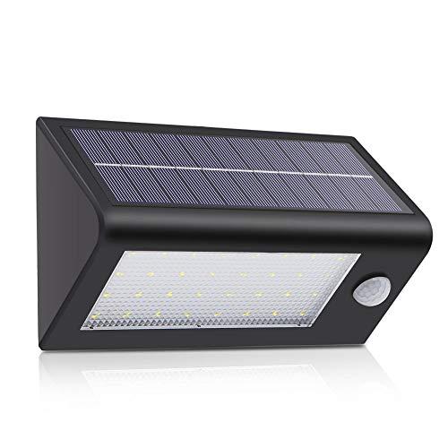 Wetterfest für Garten Außen Solar Wandleuchte Gartenleuchte Bewegungssensor Treppenlicht LED Flickering Solar Wandleuchte Solarleuchte mit Bewegungsmelder Solar Superhelle Solarlampe mit