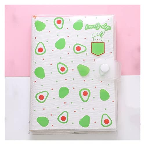 WANGYIYI Lindo Cuaderno de Estudiante Chaqueta de Libro de plástico Impermeable Libro de Mano Color ilustrado Diario de página Interior para Viajes Oficina Hogar Niñas Niños (Color : Green)