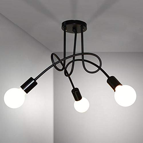 DAXGD Plafoniera moderna, lampade da soffitto in ferro vintage E27, lampadario a LED a 3 luci per soggiorno cucina ristorante