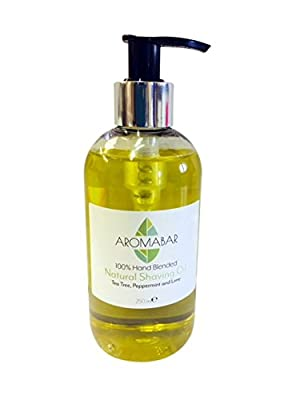 Natural Shaving Oil Tea Tree Peppermint & Lime 250ml 100% Pure with Pump Dispenser Included Use as a Pre Shave Oil or Post Shave Moisturiser from Aromabar