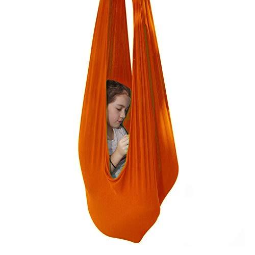 YXYH Columpio Sensorial Silla Colgante Asiento Ajustable Aéreo Volando Yoga Hamaca Hamaca Sensorial para Niños O Adultos Terapia Autismo Cuerda Árbol (Color : Orange, Size : 150x280cm/59x110in)