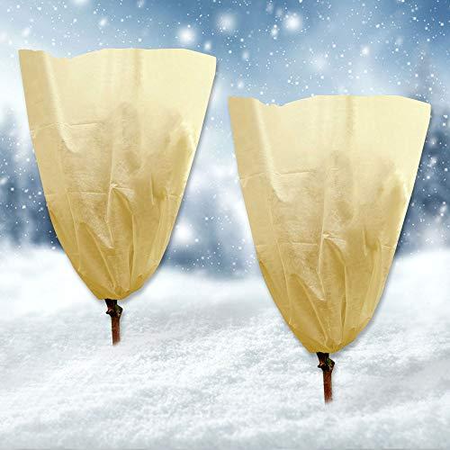 AUSDU Plant Cover Freeze Protection, 2Pcs 8.5 oz 3.9 Ft x 5.9 Ft Winter Drawstring Plant-Covers,...