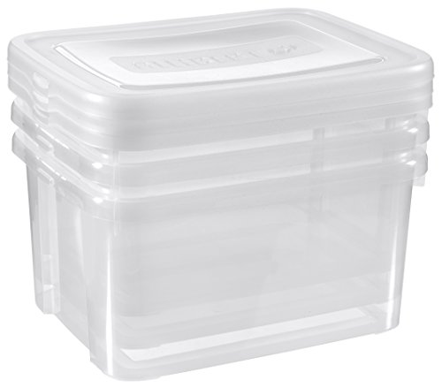 CURVER 17193963980 Boîte de Rangement, Lot de 3, 25 L, Plastique, Transparent, 44,8 x 34,5 x 35 cm