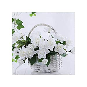 Misscany 1 Bouquet 7s Romantic Artificial Flower Gardenia DIY Silk Flower Fake Flowers for Party Home Wedding Decoration,White