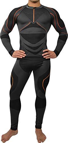 Polar Husky® Herren-Funktionsunterwäsche-Set Farbe Schwarz/Orange Größe S-M