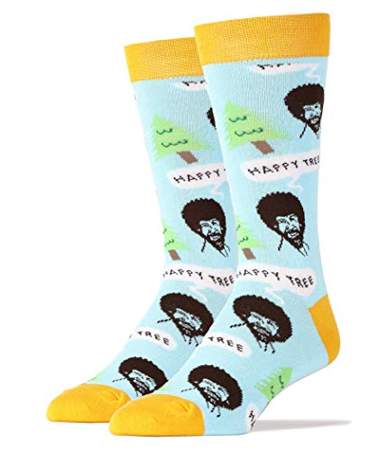 Oooh Yeah Men's Luxury Combed Cotton Crew Socks-Nice Men-Happy Tree Blue,size 10/13