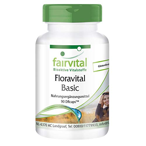 Floravital Basic - 6 Bakterienkulturen & Inulin - Lactobacillus & Bifidobakterien - 90 Kapseln