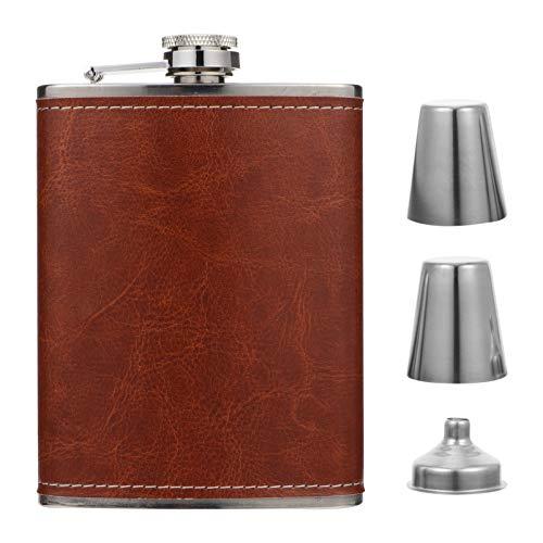 UPKOCH Roestvrijstalen heupfles trechter set fles PU leer wrap voor whisky wodka alcohol zak container rood