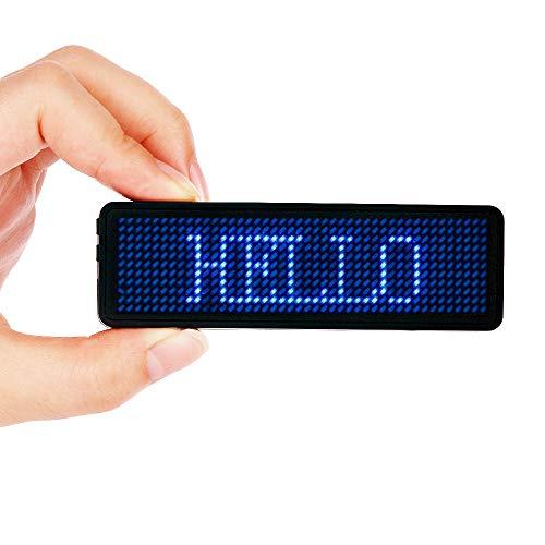 Namensschilder, VADIV LED-Namensschild 44 * 11 Pixel Digital-Rollbalken Programmierung Digital Scroll Label Verbindung USB Wiederaufladbar Freies Laufwerk Nur für Windows - Blau