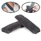 Lebogner Car Seat Belt Shoulder Pad, 2 Pack Soft Harness Cushion Protector, Comfortable Genuine Sheepskin Safety SeatBelt Strap Cover For Adult & Kid, Also Good For Backpack, Shoulder Bag & More, Grey