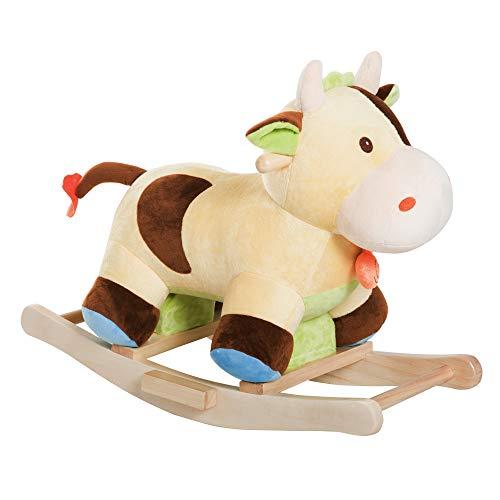 HOMCOM Caballito Balancín de Peluche Balancín Caballo Caballito Madera Juguete de Mecedora para Niños +3 Años 60x34x46cm Forma Vaca