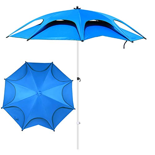 YXX Sombrilla Parasol para Jardin Terraza Azul Playa Pescar Sombrillas, Ligero Jardín Patio Plataforma Sombrillas con Base Triangular, Capota Doble E Inclinación De 360 ° Patio Sombrillas
