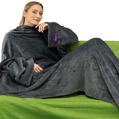 Tragbare Kuscheldecke mit Ärmeln. Weich und warm für Couchfans. Zwei Größen mit elastischen Armen und Klettverschluss (Grau, 140 * 170cm)