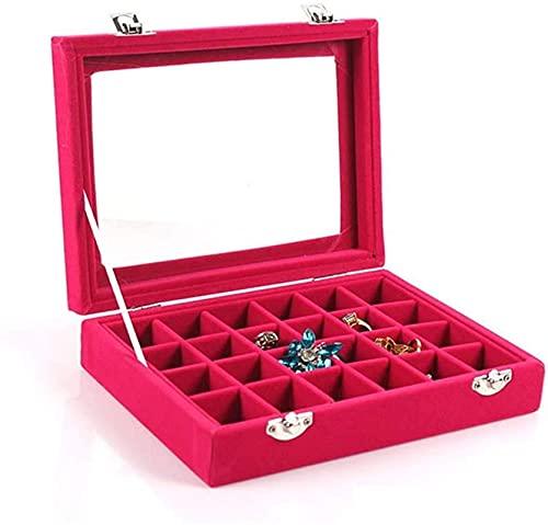 OH Joyería Caja de Alenamiento 24 Grid Jewelry Bandeja Caja de Vidrio Castre Lid Showcase Pantalla de Visualización Pendiente de Alenamiento Caja de Anillo Cajas de Joyería Portáti