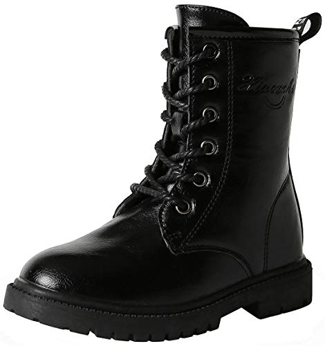 PPXID Boy's Girl's Waterproof Lace-Up Side Zipper Mid Calf Combat Boots -Black 13.5 US Size