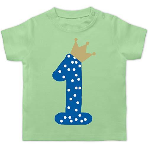 Geburtstag Baby - 1. Geburtstag Krone Junge Erster - 12/18 Monate - Mintgrün - 1. Geburtstag Krone Junge - BZ02 - Baby T-Shirt Kurzarm
