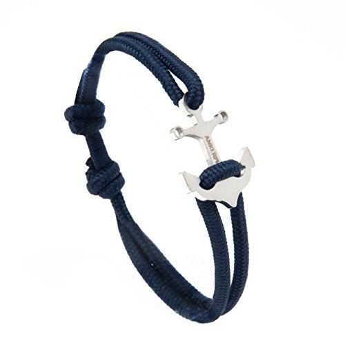 Ankerpunkt Anker Armband Männer Stoffband blau Anker silber variabel Größe Made in Germany