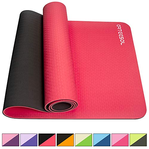 arteesol Yogamatte rutschfest Gymnastikmatte Schadstofffrei TPE Dünn Yoga Matte Fitnessmatte Trainingsmatte Sportmatte für Yoga Pilates Fitness 183cm x 61cm x 6mm (rot, 183x61x0,6cm)